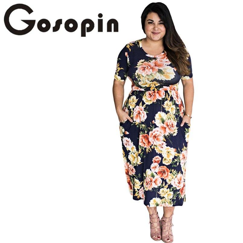 Gosopin Boho Style Long Dress Women Casual Pocket Design Navy Floral Dress 2017 Beach Summer Dress