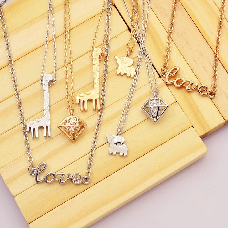 New fashion jewelry Elephant giraffe love pendant necklace gift for women girl N1738