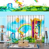 Personal Tailor 2x 200x260cm Window Draperies Chinese Curtain Living Room Window Dressing Girl Rabbit Sun Bear