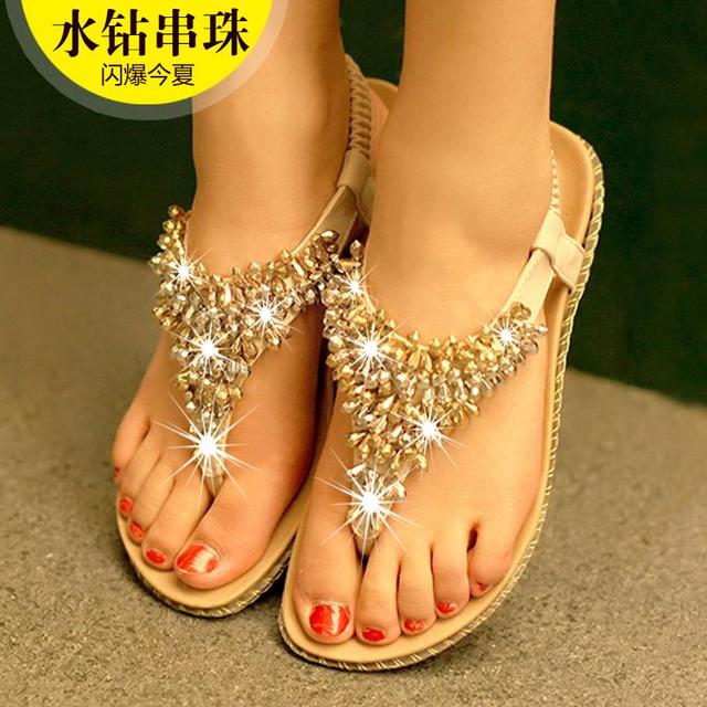 d4db0b7d638e4 Women summer Flip Flops Sandals Simple Atmosphere 2015 New Fashion Forward  Korean Handmade colored beads