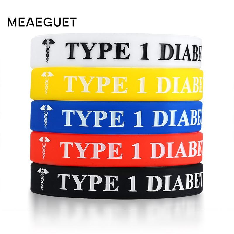 c88132c5ab35 Diabetes tipo 1 de alerta médica ID pulsera de silicona para los hombres y  las mujeres pulseras 5 Pack conjunto de joyas