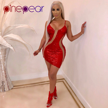 4d72d5221e12 PinePear Glitter Sequin Dress 2019 NEW Bodycon Birthday Dresses Women Sexy  See Through Mesh Red Christmas