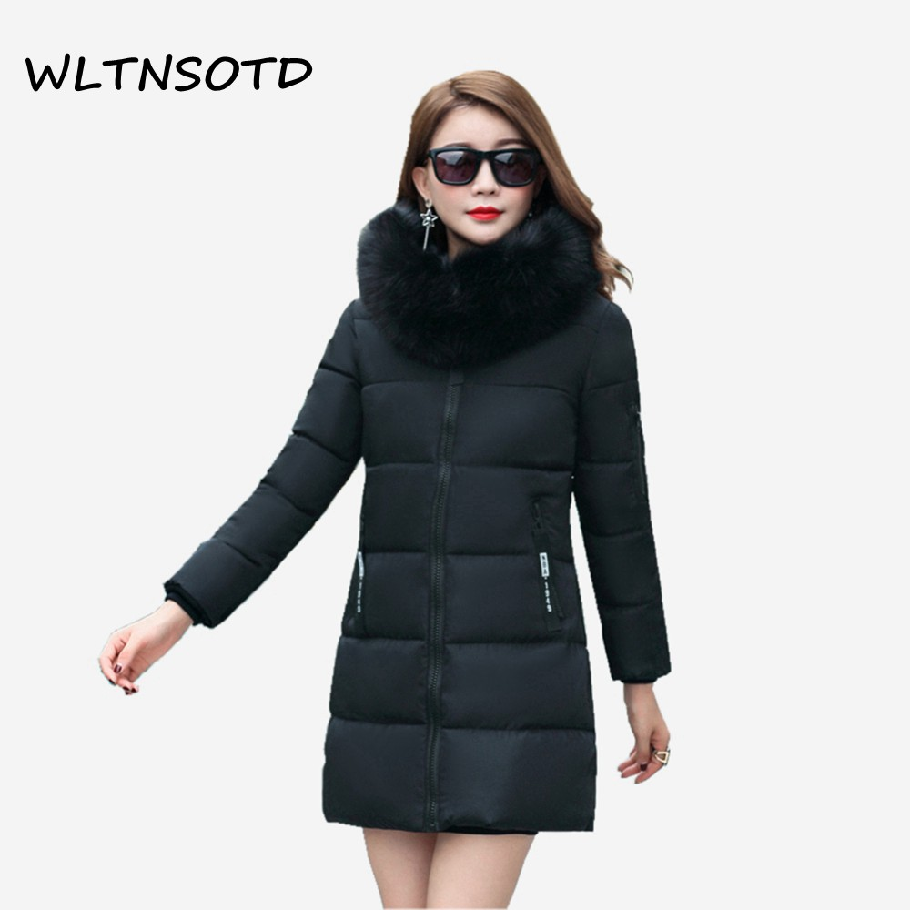 2017 new winter women large fur collar long cotton jacket Female fashion Slim badge large size warm coats Parkas 2017 winter jackets coats slim women long parkas large fur collarthickened warm cotton jacket female plus size 3xl outerwear red
