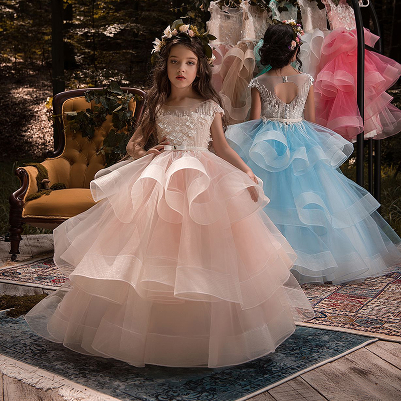 Vestido Comunion Children Kids Bling Bling Ball Gowns   Flower     Girl     Dresses   Open Back Layered Sheer Cap Sleeves Pageant   Dresses