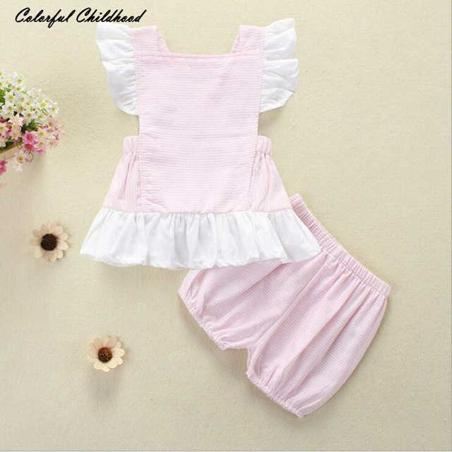 71924c6bb842 Fashion Cute Stripped Top+pant Baby Girls Clothes Cute Infant Toddler Kids  Clothing Set Baby Bodysuit Stripped ruffle Short 2pcs
