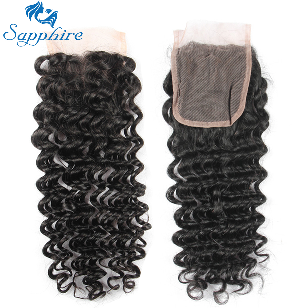 Sapphire Deep Wave Human Hair 3 Bundles With Closure Deep Curly - Hair Salon Supply - Photo 5