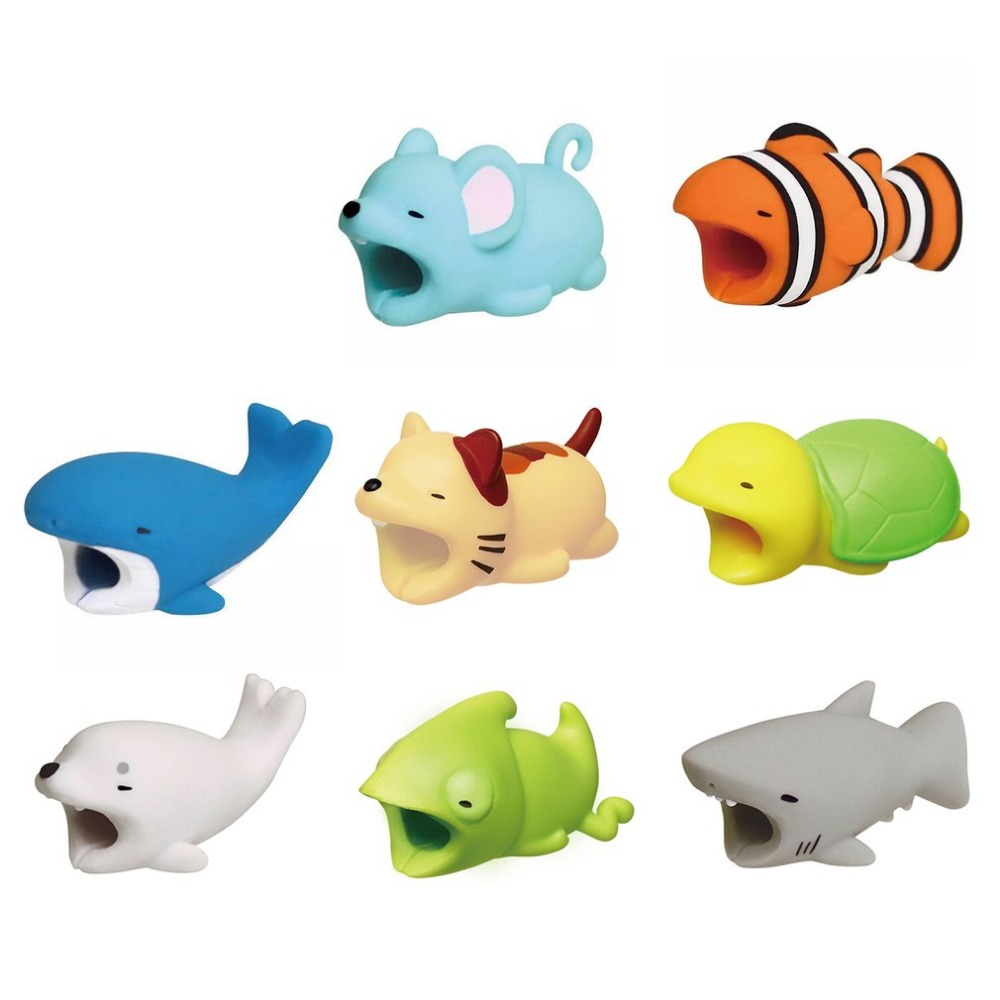 Cute Animal Cable Protector For IPhone Huawei Animal Bites Anti-Break USB Cable Organizer Cable Management For Phones Cable