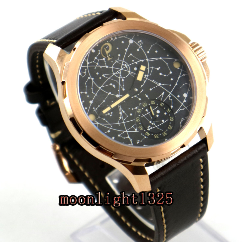 2017 new 44mm mens parnis constellation rose golden plated Case Leather Sapphire glass Luminous 6498 hand
