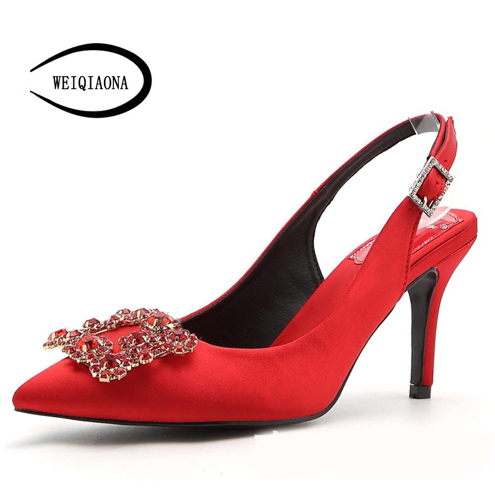 WEIQIAONA 2019 New Spring Women Shoes Pumps High Heels Elegant Buckle Rhinestone Pointed Toe Wedding Shoes Brand Design Sandals