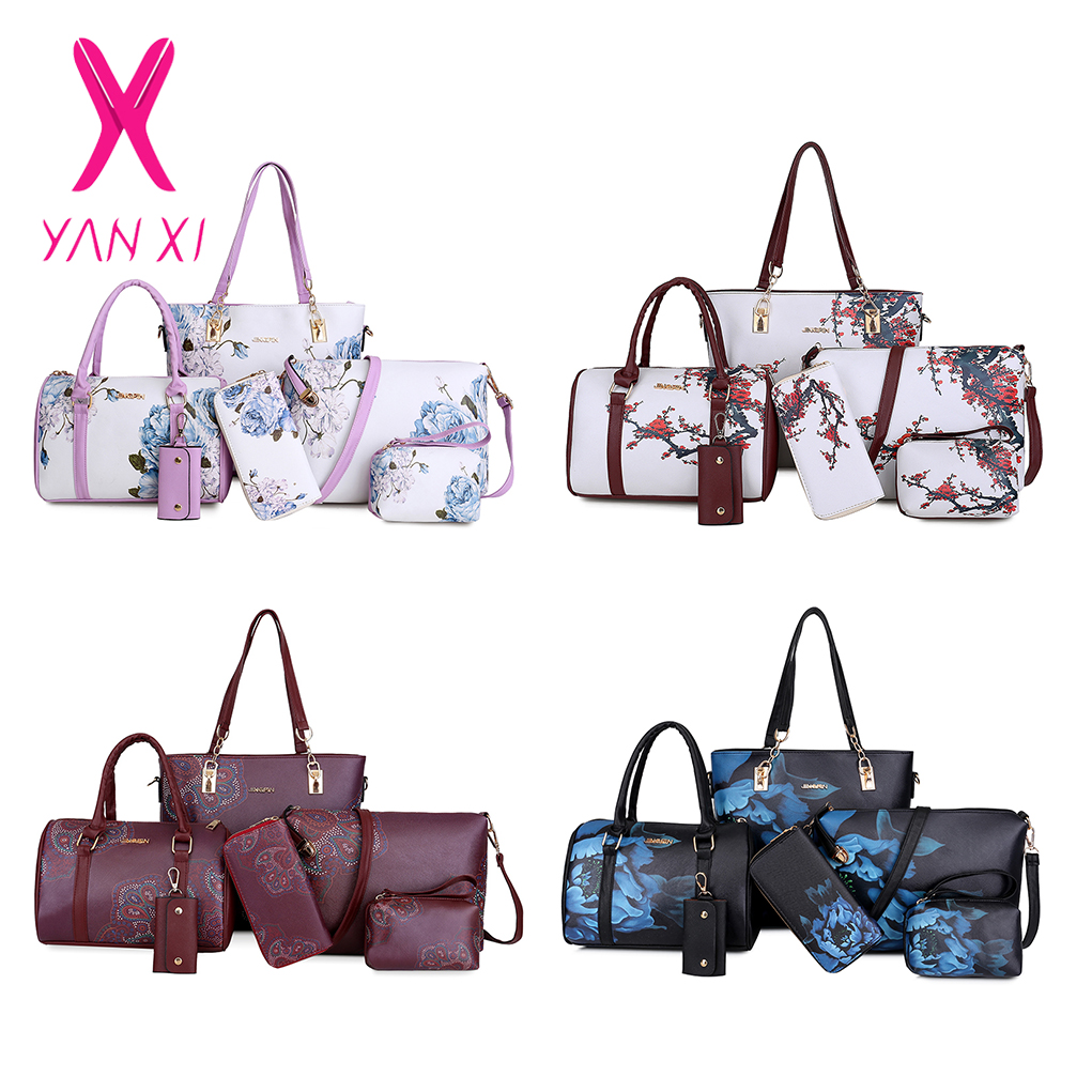 23183a4c878e Chinese Style Floral Printing Women Handbags Shoulder Bags Set Female  Practical Composite Bag 6 Piece Set Designer Brand Bolsa-in Top-Handle Bags  from ...
