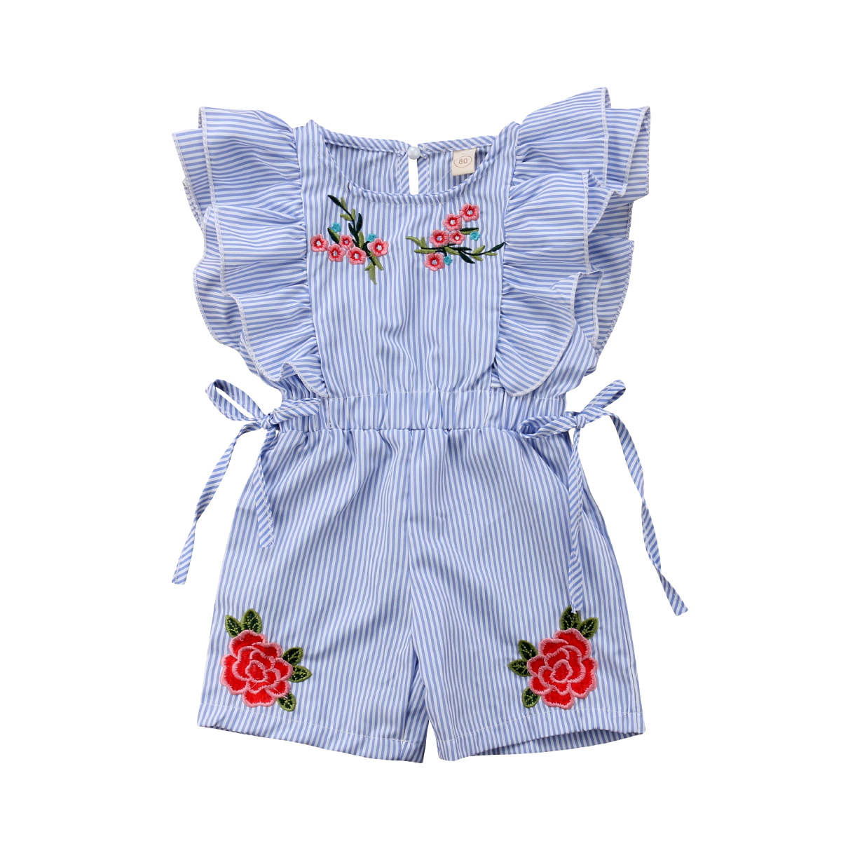 Toddler Baby Girl   Romper   Jumpsuit Blue White Stripe Flower Embroidered Baby Girl Summer Clothes 6M-5Y