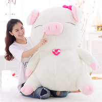 Lovely White Pig Plush Toy Doll Big Pink Stuffed Animal Pillow Cushion Valentine's Day Gifts 3kg