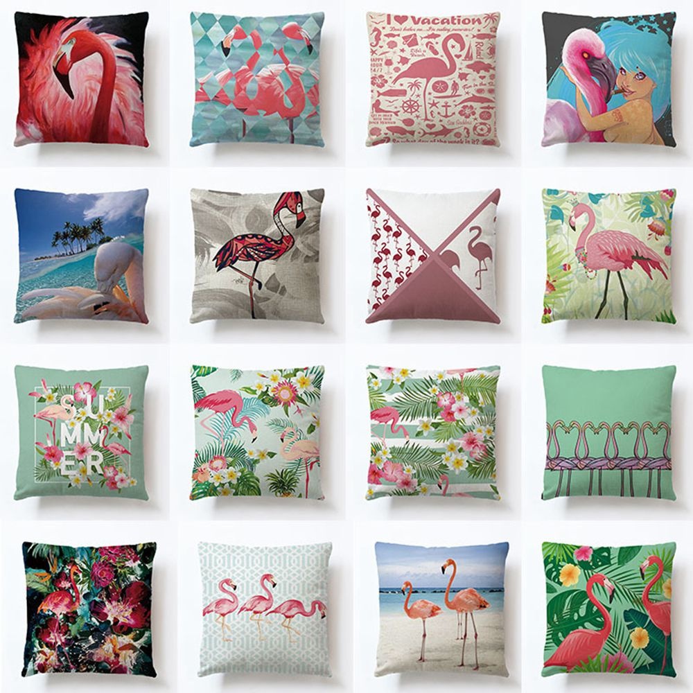 RUBYLOVE Cotton Linen Summer Flower Birds Cushion Cover 40x40cm Flamingo Soft Pillow Cases Pillow Covers Bedroom Sofa Decoration