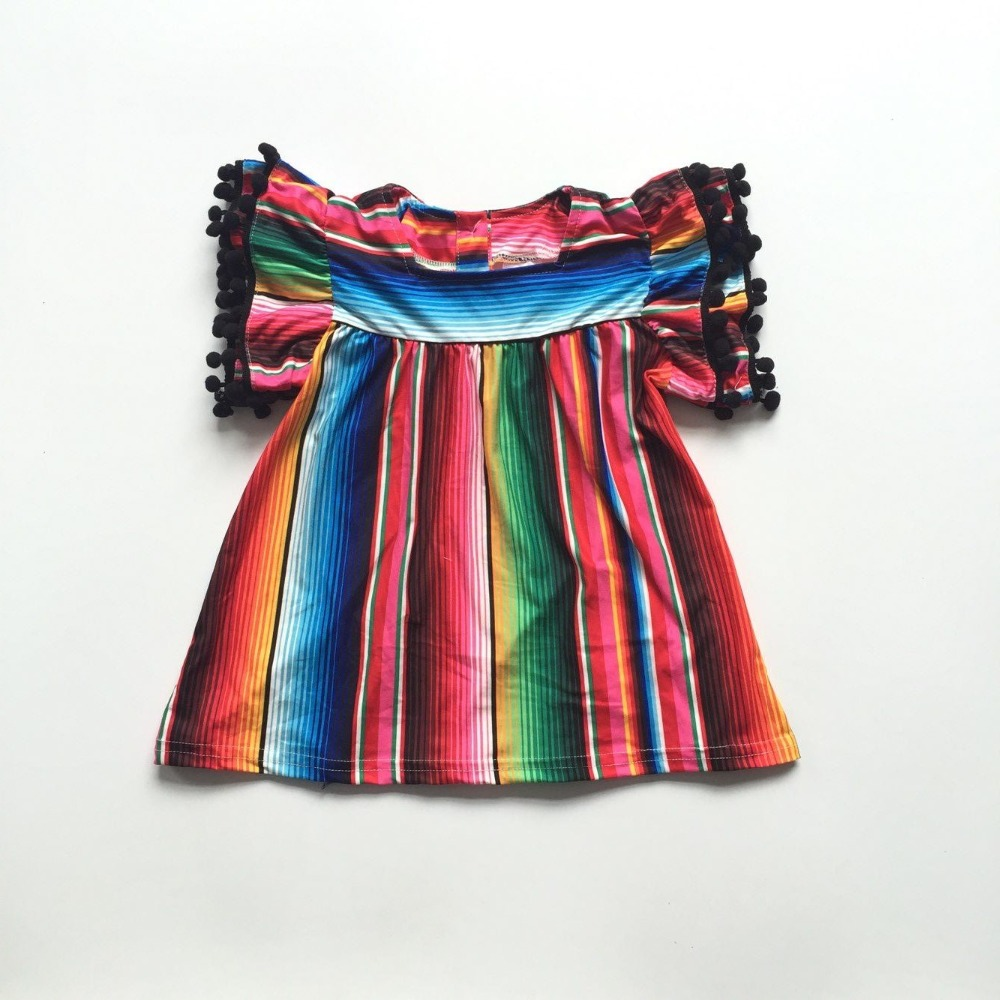 New Arrivals Baby Girls Children Clothes Kidswear Outfits Serape Pom-pom Short Sleeve Top T-shirt Cotton Ruffle Boutique Raglans