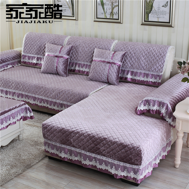 Jiajiaku Brand Plush Leather Sofa Cover Factory Customized 18cm Lace Edge Fabric Velvet Plaid Quilted Mat