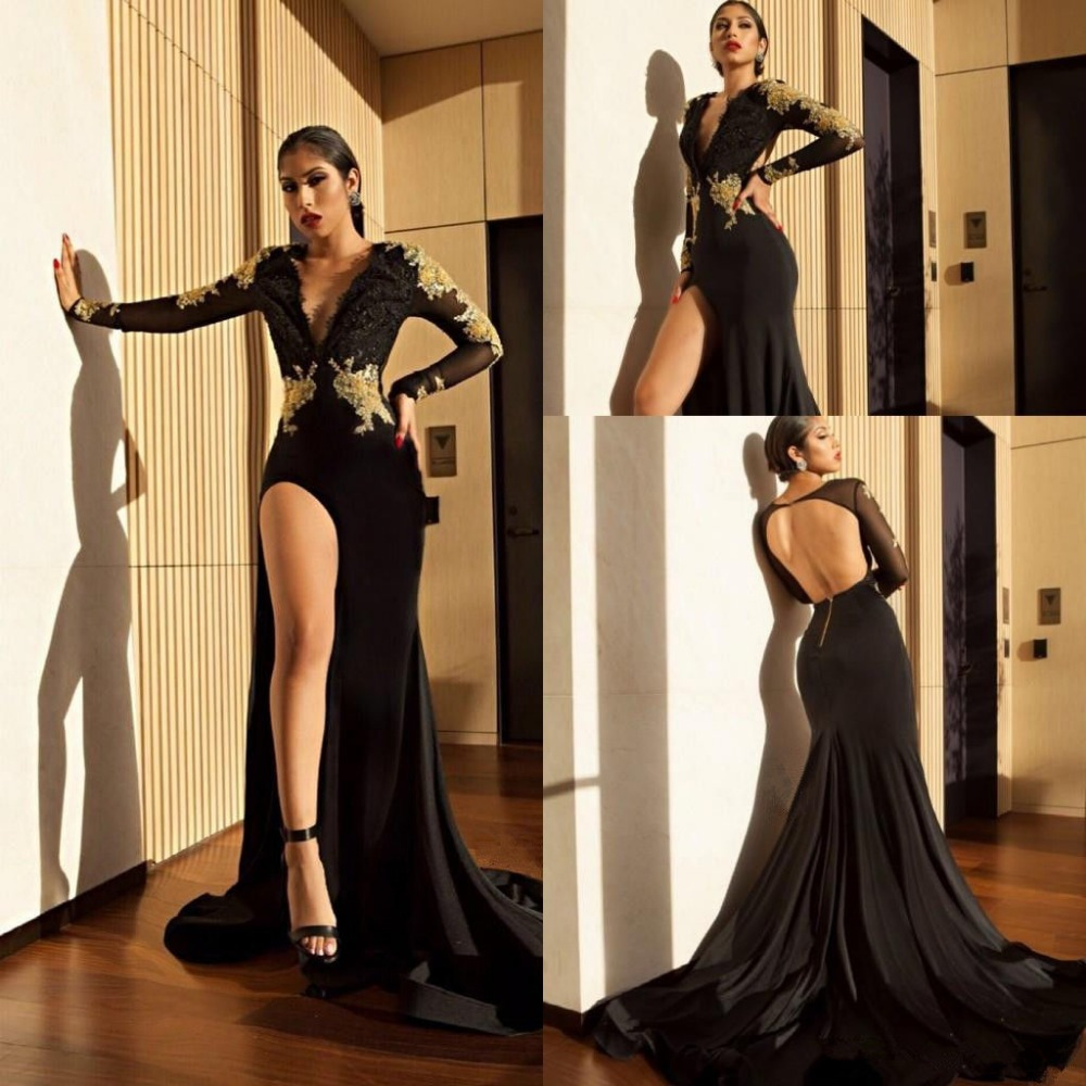57-1     Black Mermaid High Slit Prom Dress Gold Lace Appliques V Neck Party Evening Gown