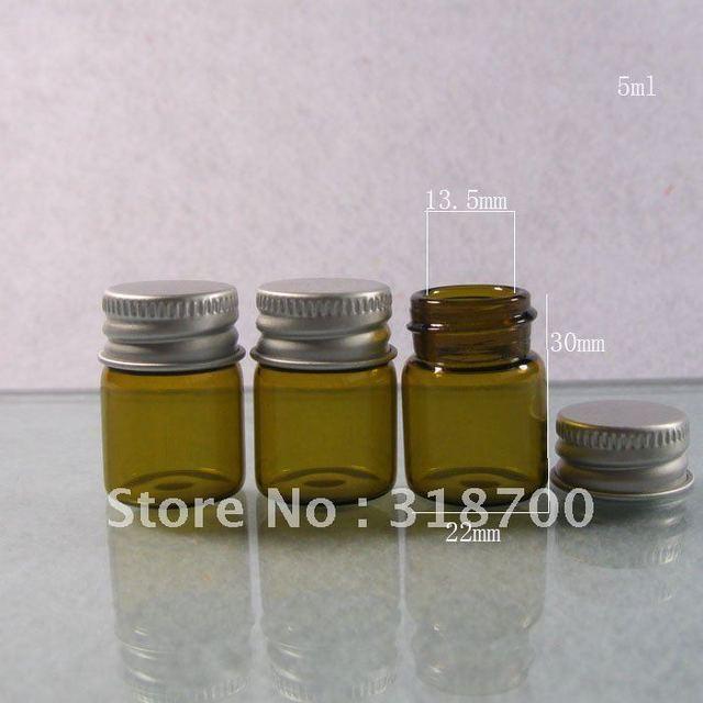 300 x 5ml amber empty glass bottle with aluminum cap, amber sample vials
