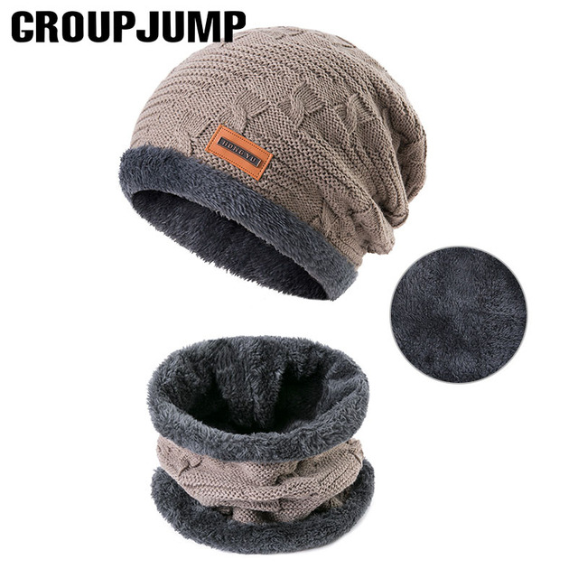 7b0683872897a1 GROUPJUMP 2019 Fashionable Men Winter Hats Scarves Cotton Knitted Hat Scarf  Set Skullies Beanes Keep Wram