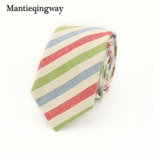 Mantieqingway Wedding 6CM Ties For Men Skinny Cotton Neck Tie Business Plaid Rainbow Striped Necktie GravatasColorful