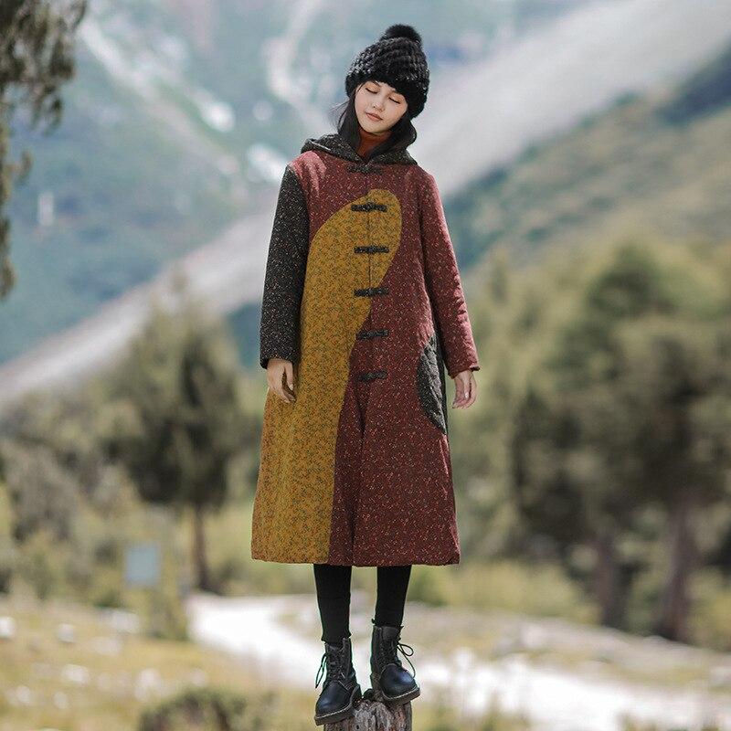 Johnature Women Vintage Patchwork   Parkas   Hooded Cotton Linen Coats Print Floral Chinese Style Winter Women Clothing Warm   Parkas