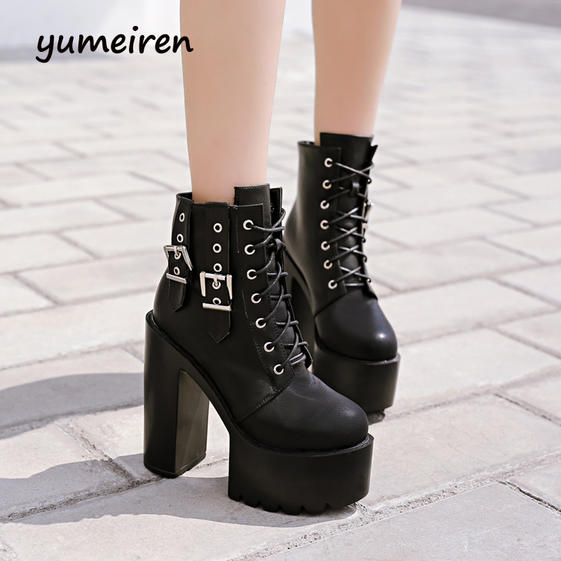 lace up boots platform shoes winter punk boots chunky high heels pumps gladiator ankle boots women winter shoes short boots X172 kibbu lace up high heels women punk style ankle boots thick bottom platform shoes european motorcycle leather boots 6 colors