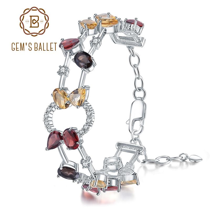 GEM S BALLET 925 Sterling Silver Multicolor Natural Garnet Smoky Quartz Citrine Bracelets Bangles for Women