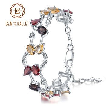 GEM'S BALLET 925 Sterling Silver Multicolor Natural Garnet Smoky Quartz Citrine Bracelets & Bangles for Women Fine Jewelry