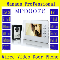 High Quality One to One Video Doorphone Kit Configuration Professional Smart Home 7 inch Screen Touch Video Intercom Phone D76b