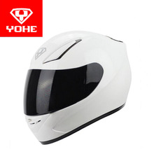 2017 мода yohe анфас мотоциклетный шлем изготовлен из abs и pc козырек moto racing шлем yh-991 белый цвет размер m, l, xl, xxl