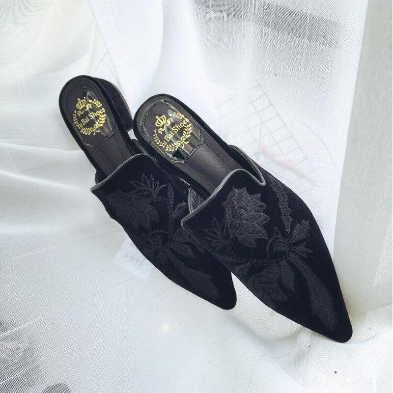Carré 6 1 Mujer Sandales Talons Designer De Troupeau Marque Chaussures Casual 2 D'été Dames 5 Luxe Mules 4 Zapatillas Femme 3 Broder 2018 ZgwqBFSF