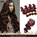 7A Brazilian Body Wave With Closure 99J Red Hair Bundles With Lace Closures Brazilian Virgin Hair 4 Bundles With Lace Closure