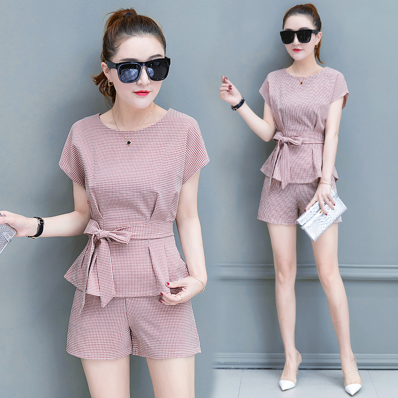 2018 Summer new fashion short pants suit women 39 s clothing set wear short sleeved pullover top blouse bow two piece shorts outfit in Women 39 s Sets from Women 39 s Clothing