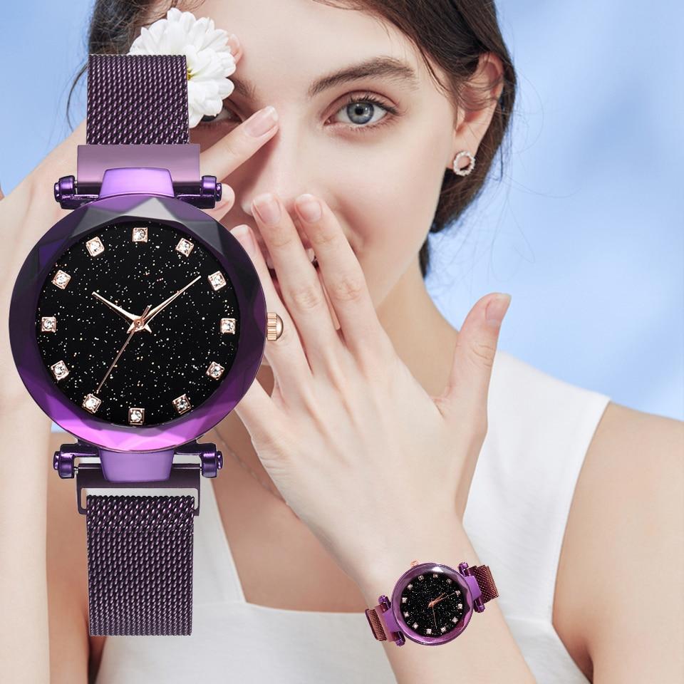 Top Brand Luxury Bracelet Watches For Women Charm Purple Magnet Buckle Starry Diamond Geometric Surface Ladies Wrist Watch Gift