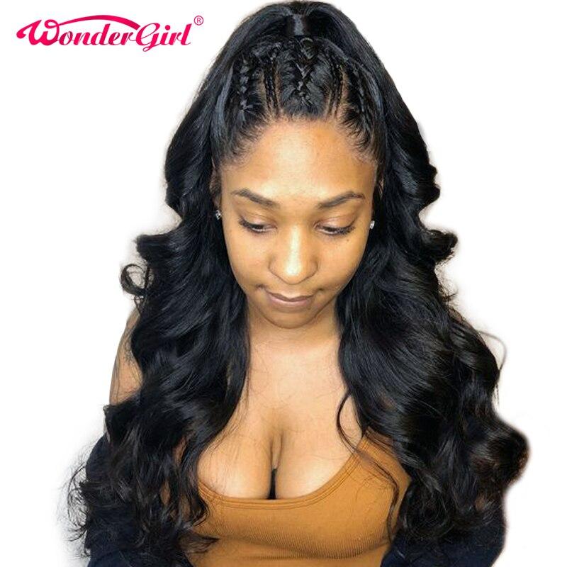 Remy 360 Dentelle Frontale Perruque Pré Pincées Avec Bébé Cheveux 150% Densité Malaisie Vague de Corps Avant de Lacet Perruques de Cheveux Humains wonder girl