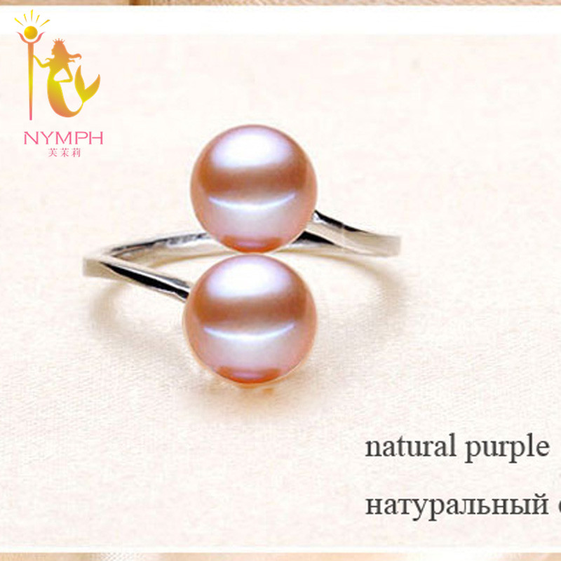 NYMPH Pearl Rings Jewlery Natural Freshwater Pearl Double Trendy Rings Wedding Bands Party Birthday Gift For NYMPH Pearl Rings Jewlery Natural Freshwater Pearl Double Trendy Rings Wedding Bands Party Birthday Gift For Girl Women R028