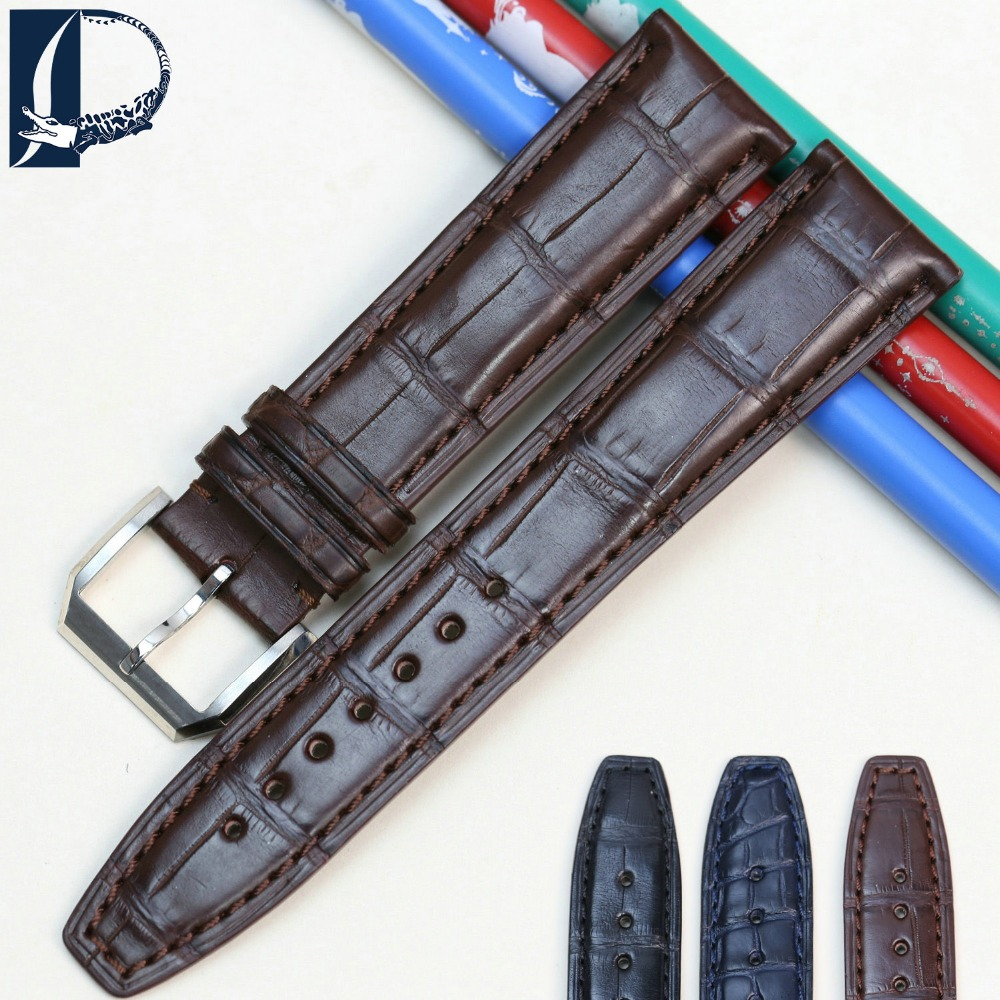 Pesno Watch Band Black Brown Dark Blue Watch Accessory 20mm 22mm Alligator Leather Watch ...