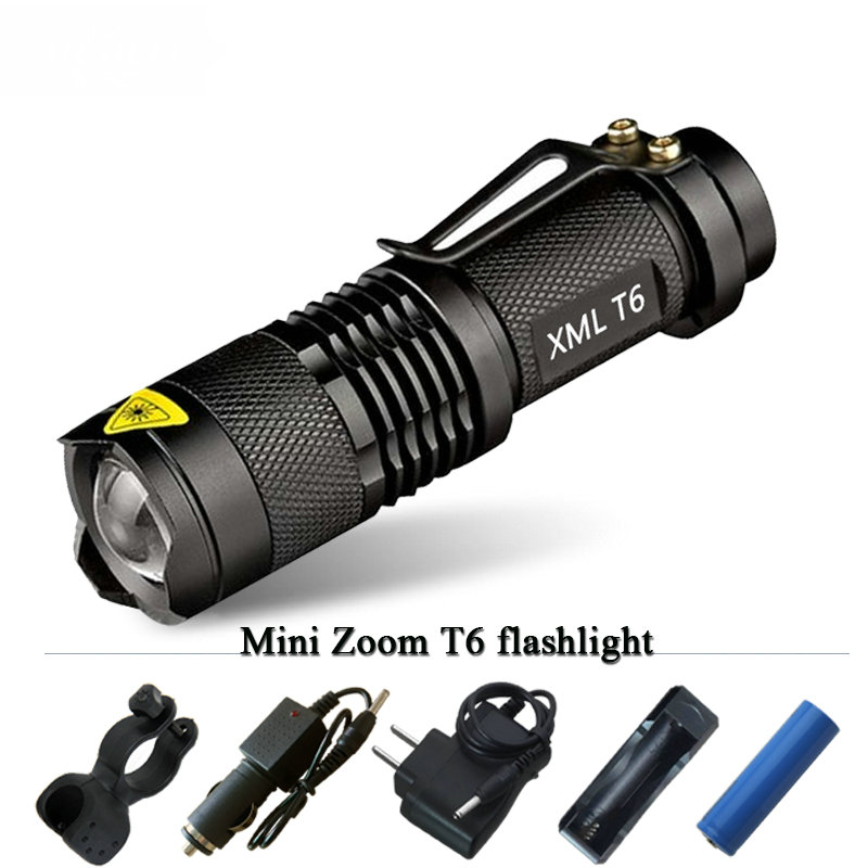lampe torche rechargeable mini cree xm l t6 led flashlight. Black Bedroom Furniture Sets. Home Design Ideas