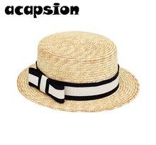 цена на Women Summer Hat Beach Straw Hat Panama Ladies Jazz Cap Fashionable Handmade Casual Flat Brim Bowknot Sun Hats for Women A047