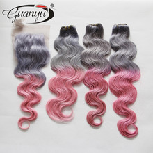 2015 New Xmas Super Deals Brazilian Human Hair Grey/Pink 3 or 4 pcs/lot Get a Free Closure to Match your Bundles