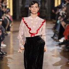 Ecombird 2017 Spring Runway Designer Blouses Women's High Quality Long Sleeve Swan Print Stand Collar Ruffled Elegant Top Shirt