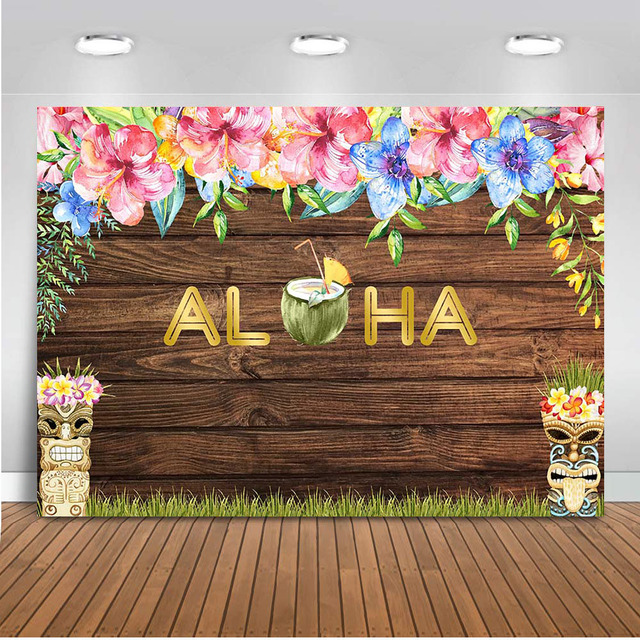 Neoback Aloha Theme Backdrop for Photography Beach Background for Photo Booth Studio Party Decoration Supplies Computer Printed