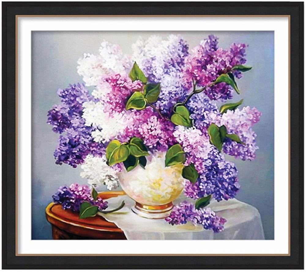 Diamantmålning blommor lila, fyrkantiga, fulla, diy, diamantbroderi kristallblommor