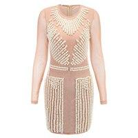 חדשה באיכות גבוהה 2017 מעצב בארוקו dress bodycon יהלומי פנינת עבודת יד ואגלי לוקסוס שרוול הארוך של נשים dress
