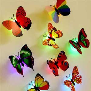 Image 5 - 10 Pcs สติ๊กเกอร์ติดผนังผีเสื้อไฟ LED สติ๊กเกอร์ติดผนัง 3D ตกแต่งบ้านตกแต่งห้อง vinilos decorativos para paredes ใหม่