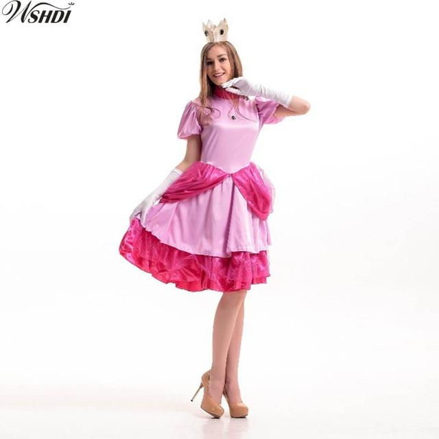 Pink Princess Peach Cosplay Fantasia Woman Halloween Super Mario ...