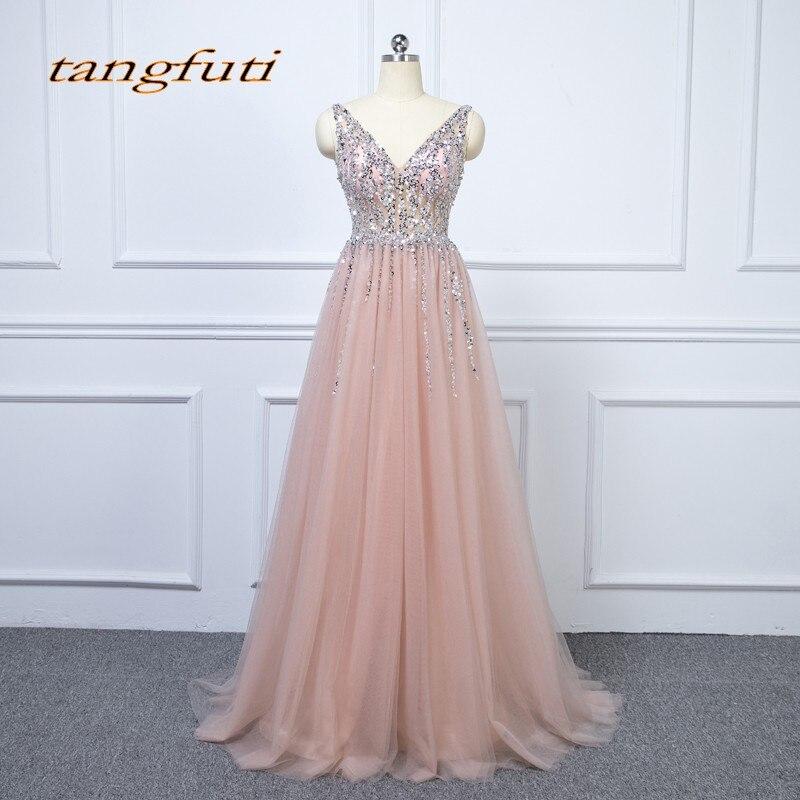 Luxe cristal longues robes de soirée fête Tulle perlé belle col en V femmes bal formel robes de soirée robes en vente 2018