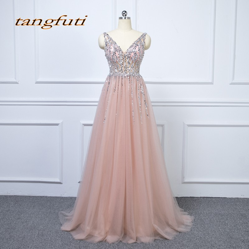 Luxury Crystal Long   Evening     Dresses   Party Tulle Beaded Beautiful V Neck Women Prom Formal   Evening   Gowns   Dresses   On Sale 2018