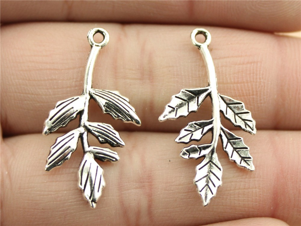 WYSIWYG 10pcs 30x16mm 2 Colors Antique Silver, Antique Bronze Plated Branch Pendant Branch Leaf Pendant Branch Charm