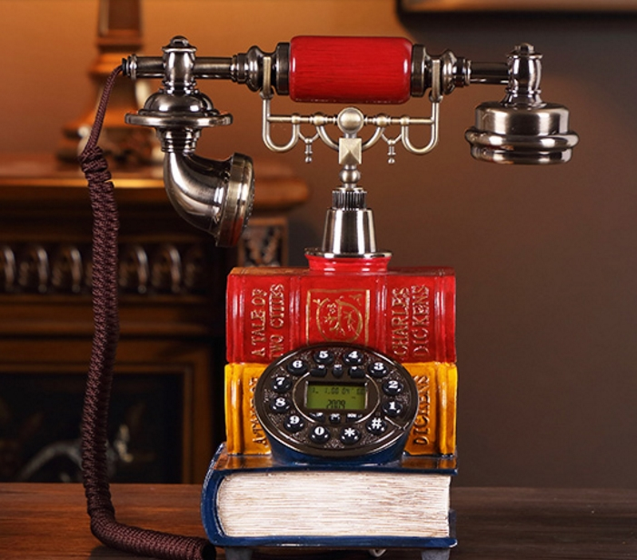 Fashion antique telephone vintage old fashioned synchronically home american antique telephone