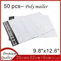 50 قطع أعلى جودة 25 سنتيمتر x 32 سنتيمتر الأبيض بولي ميلر مغلفات بريدية أكياس بلاستيكية للتغليف حقيبة البريد 9.8